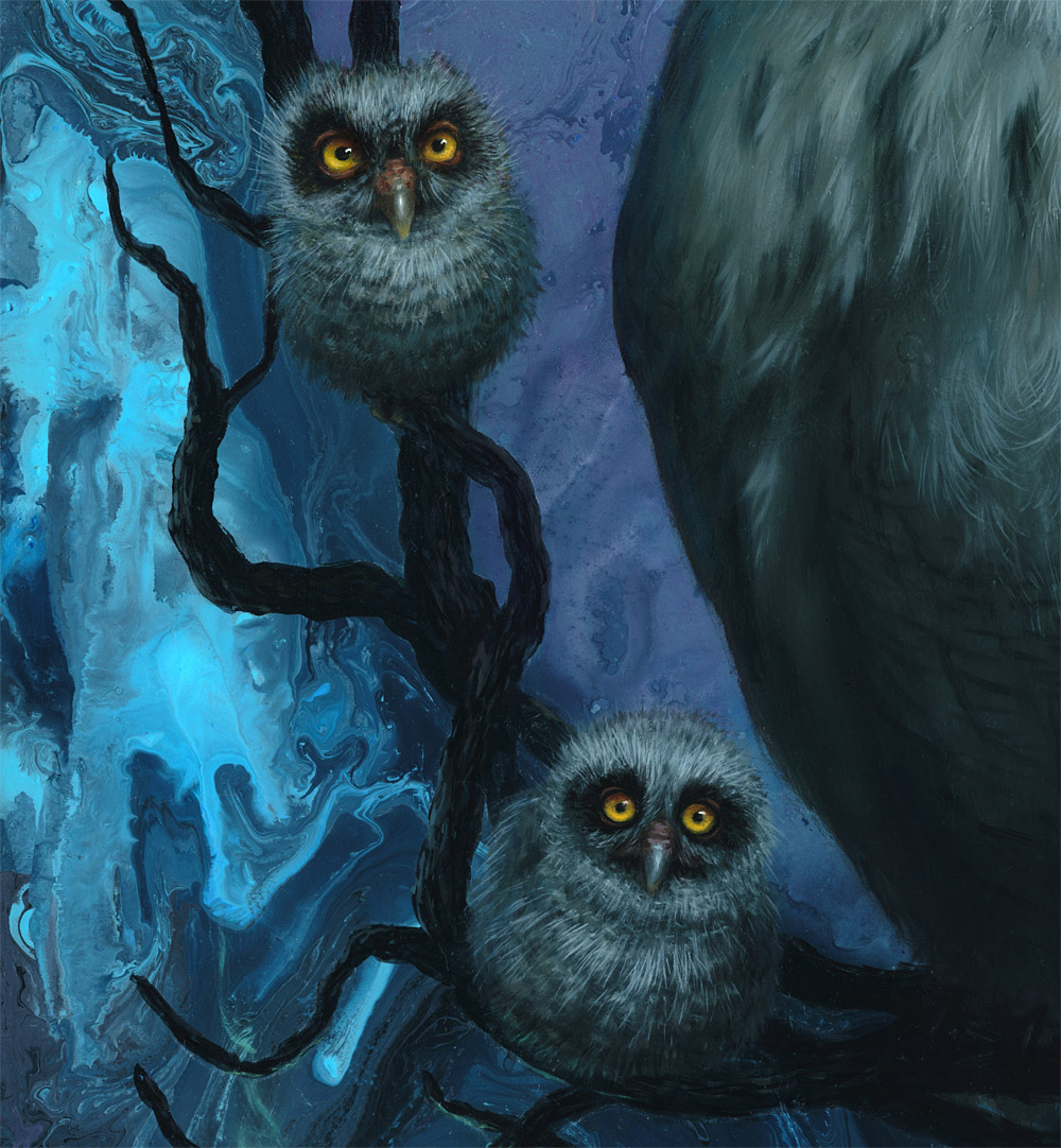 Baby Owls Painting Detail