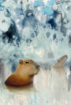 capybara oil painting