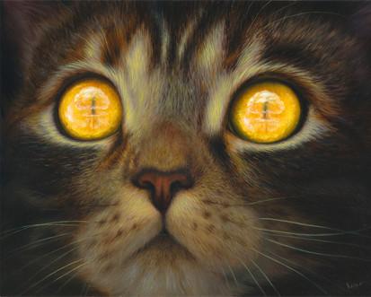 Atomic Bomb Cat oil painting