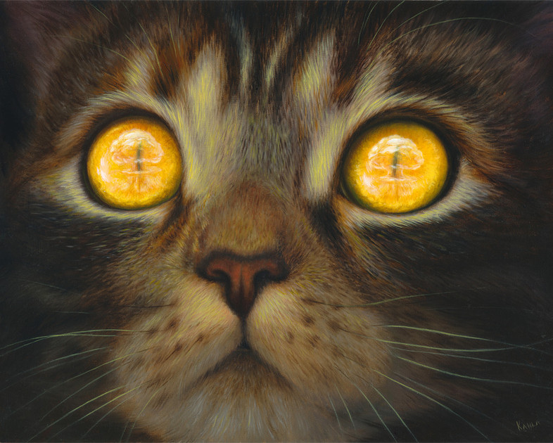 Atomic Bomb Cat oil painting