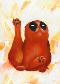 Deadpool cat oil painting