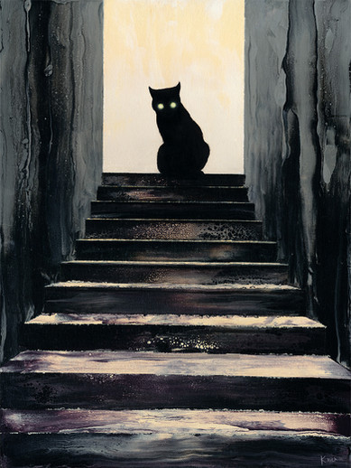 Evil Stair Cat Oil Painting
