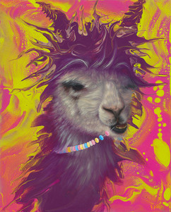 Psychedelic Alpaca Oil Painting