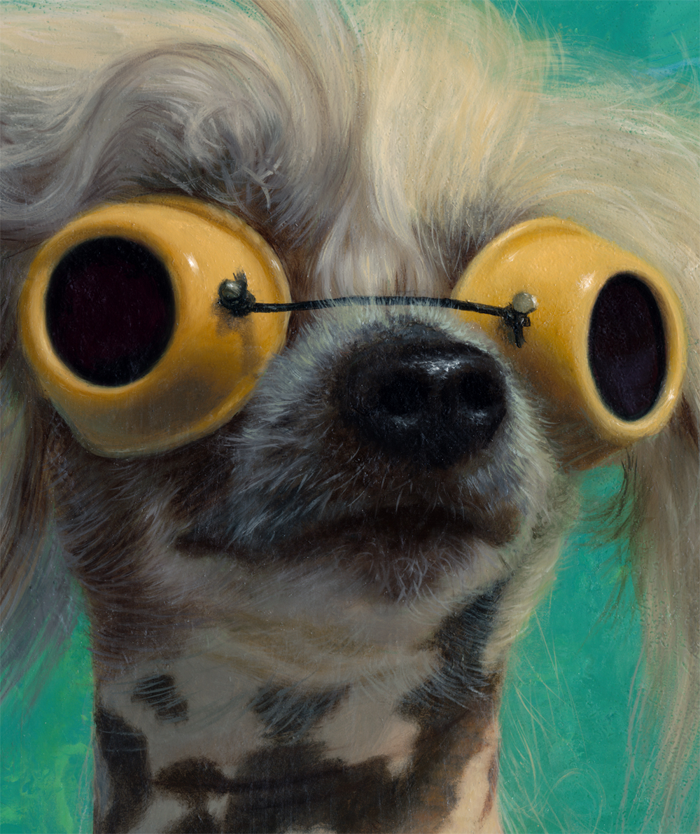 detail, dog in goggles painting