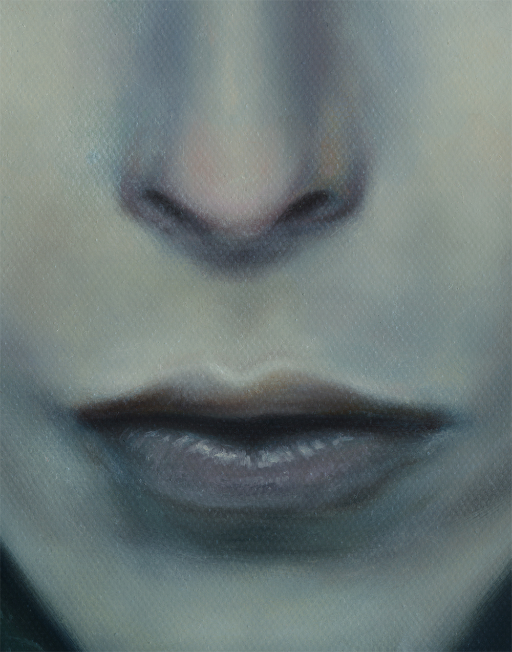 Detail, nose, david bowie painting