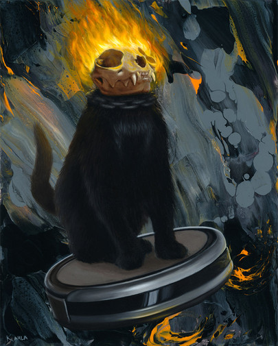 Ghost Rider Cat oil painting