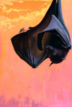 Bat oil painting