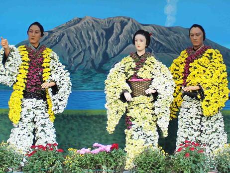 Японские куклы из хризантем