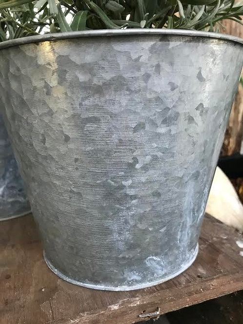 "6"" Decorative Galvanized Metal Pot"