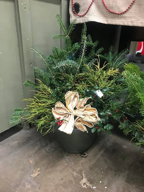 Evergreen Porch Planter with Bow