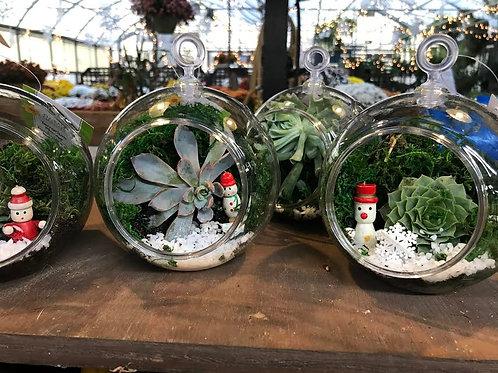 Miniature Hanging Holiday Terrarium Ornament