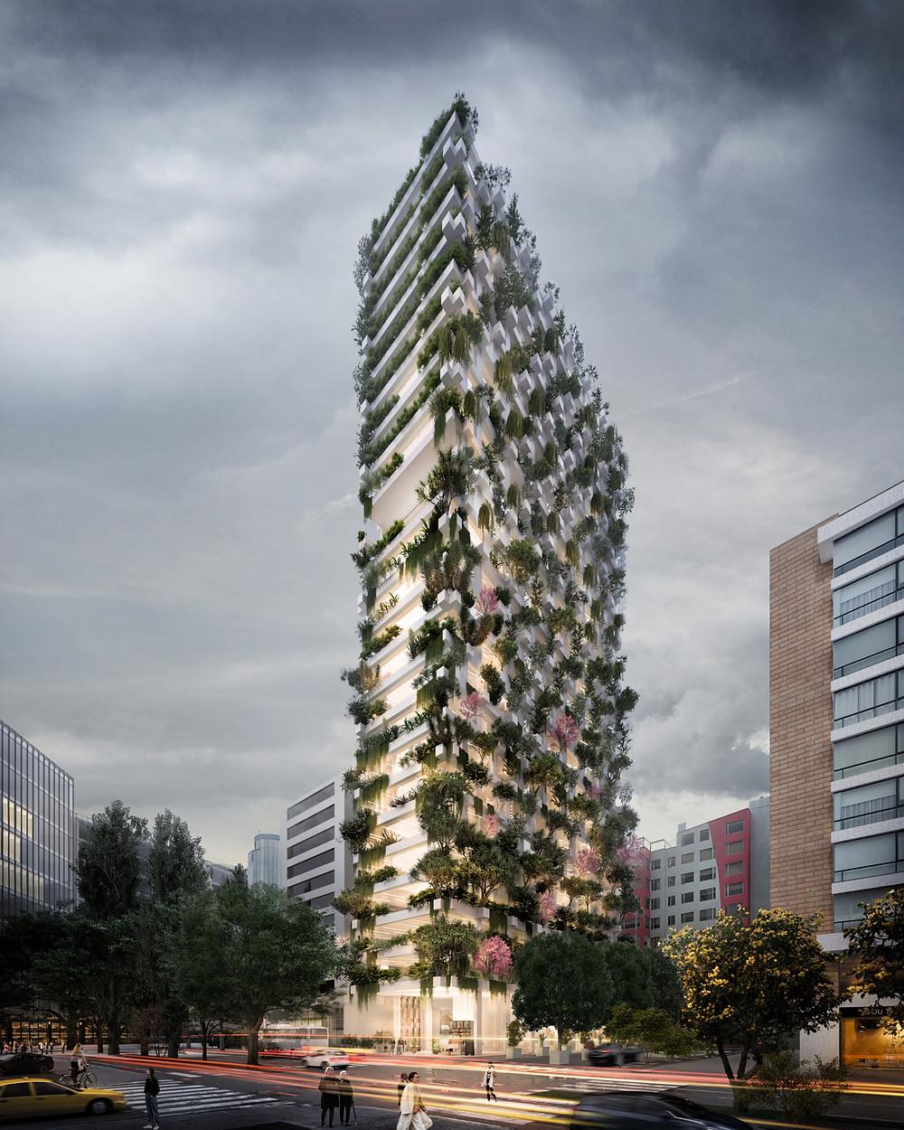 Torre moderna y ecoeficiente. Su fachada se compone de unos elementos constructivos a modo de maceteros, contenedores de la vegetación.