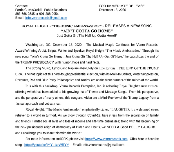 Royal Height Press Release December 2020