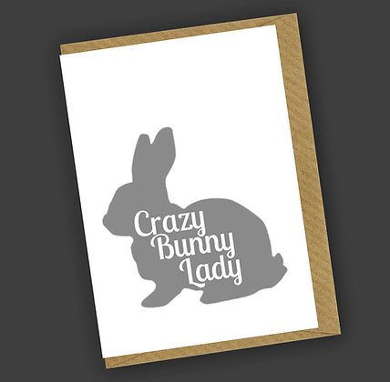 Crazy Bunny Lady Greetings Card CCL