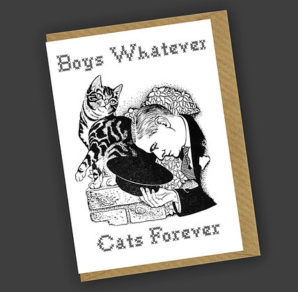 Boys Whatever, Cats Forever Greetings Card CCL
