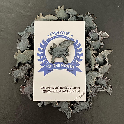 Black Axolotl Pin Badge CCL