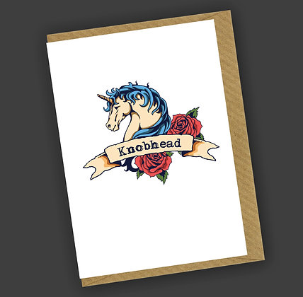 Knobhead Unicorn Greetings Card CCL