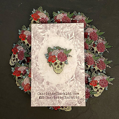 Floral Skull Pin Badge CCL