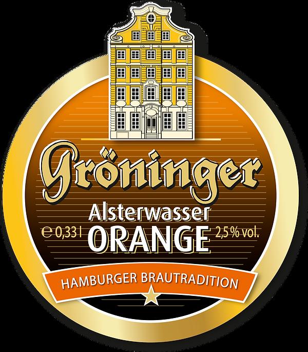Gröninger Alsterwasser Orange Etikett