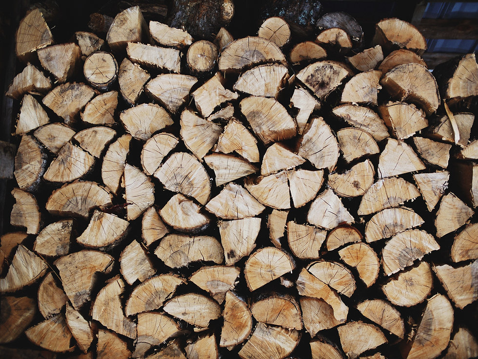 Wood pile resembling building blocks of new masculinity.