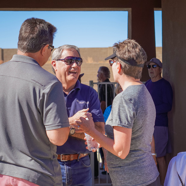 Joseph Contadino speaking with happy Granville Residents