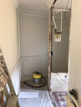couloir et ouverture de la cloison vers la cuisine