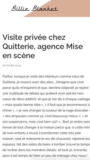 Article Elle blog Billie Blanket // Projet Déroulède