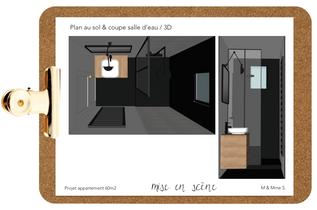 Plan au sol & coupe salle d'eau / 3D