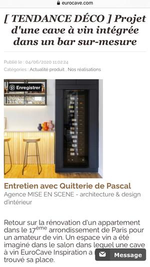 Article Eurocave // Projet Tocqueville