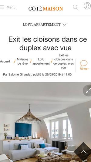 Article Côté Maison  // Duplex Philibert Delorme