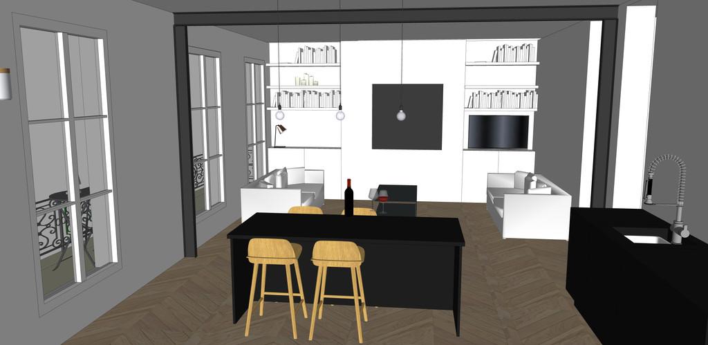 vue cuisine / salon en 3d