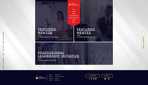 773Designs Website Case Study - True Mentors Welcome Page