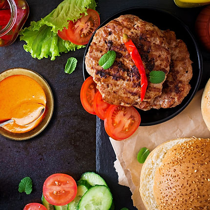 Devanco Turkey Burger with a Roasted Red Pepper Aioli