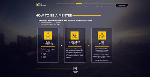 773Designs Website Case Study - True Mentors Mentee Page