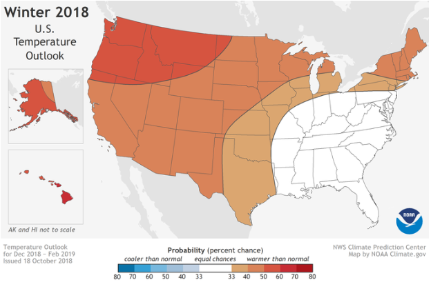 NOAA Winter 2018 Temperature Outlook