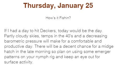 South Platter River Deckers Daily FlyCast Fly Fishing Report