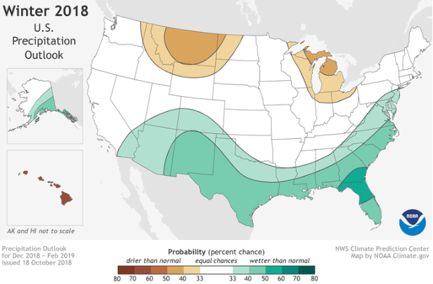 NOAA Winter 2018 Precipitation Outlook