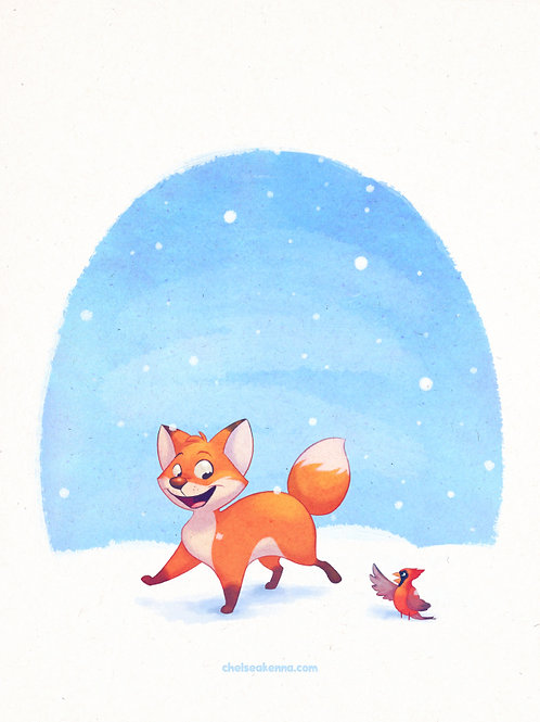 Winter Fox Signed Print