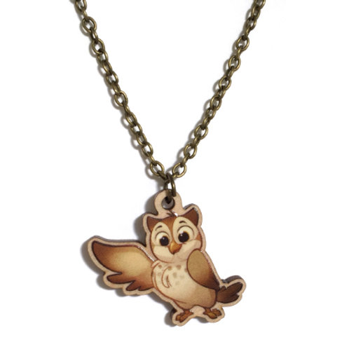 Wood Owl Necklace