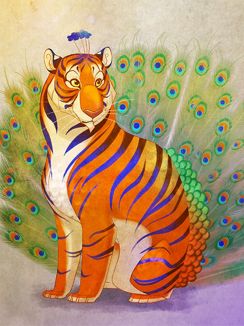Peacock Tiger Signed Print