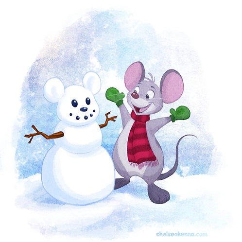Snow Mouse Signed Print