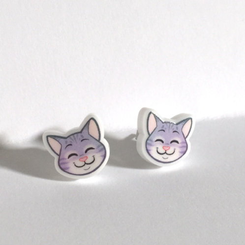 Grey Tabby Cat Earrings