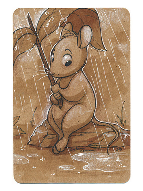 Mouse in the Rain Original Art