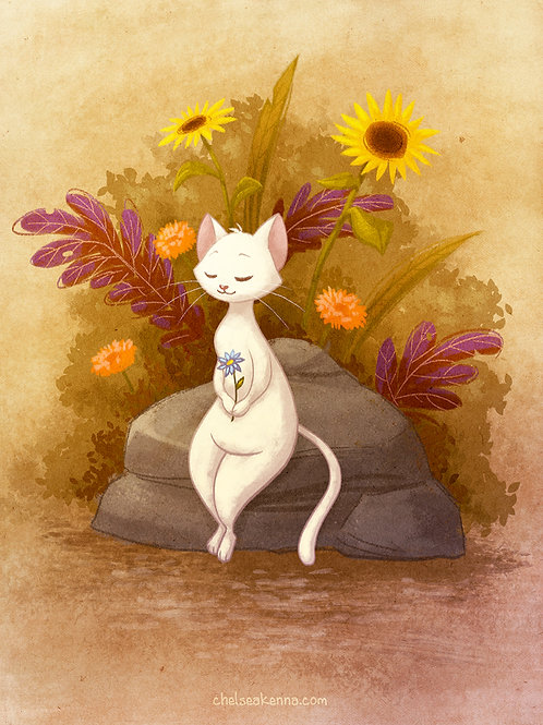 Flower Cat Signed Print