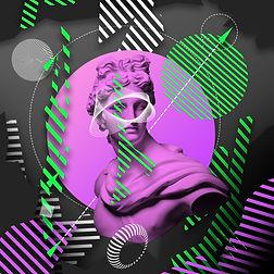 Contemporary art collage with plaster head statue isolated on bright multicolored geometri