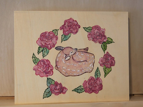 Fawn & Roses Art Print on Wood Canvas