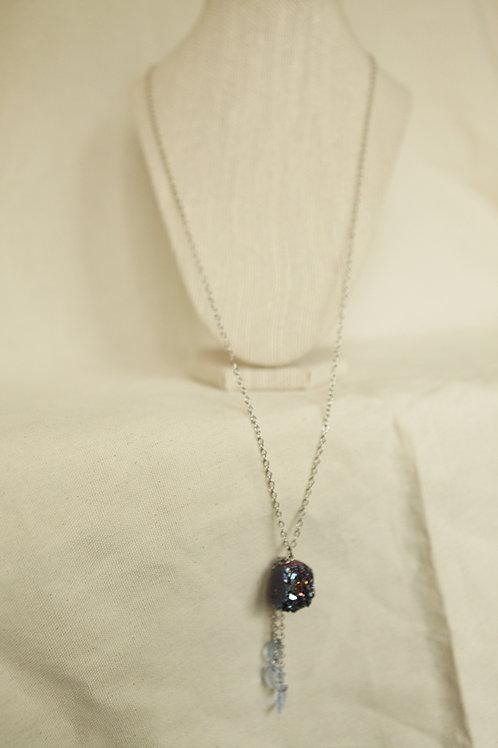 Coated Quartz Crystal Necklace