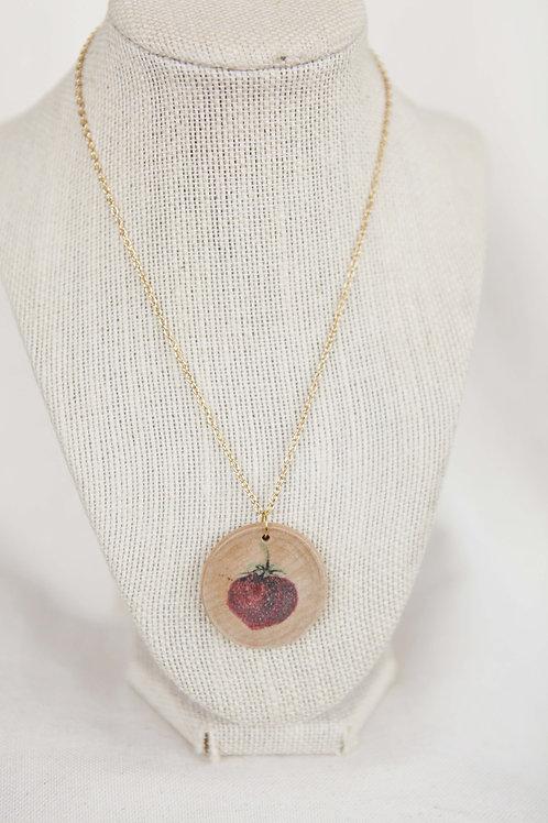 Strawberry Print Wood Round Pendant Necklace