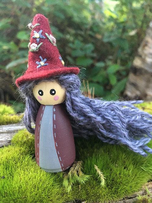Burgundy Witch Doll