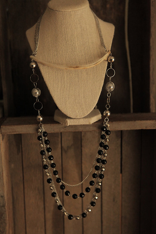 Deer Rib Bone & Beaded Chain Necklace